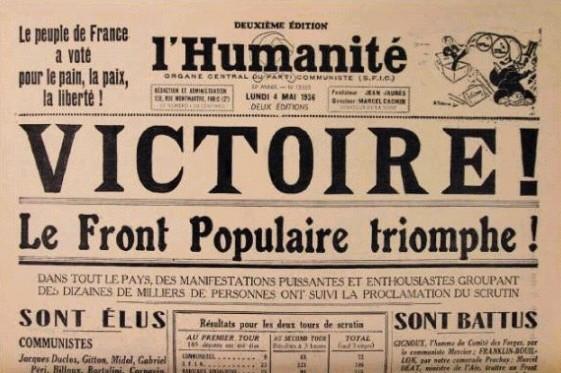 la victoire du front populaire le 3 mai 1936