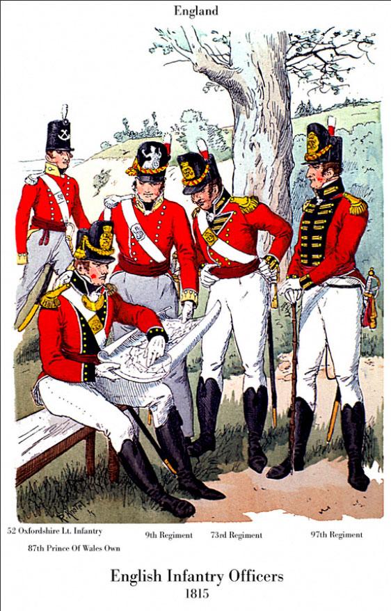 officiers d'infanterie anglaise